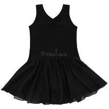 Girls Leotard Dress Ballet Dance Gymnastic Tutu Skirt Dancewear Costume Sz 7-8
