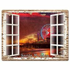 PP0610 French Window Santa Monica Plate Sign Shop Store Cafe Home Room Decor