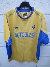 VINTAGE Maillot CHELSEA away UMBRO shirt 2002 football AUTOGLASS trikot L jaune
