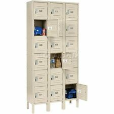 Global Locker Six Tier 12x12x12 18 Door Ready To Assemble Tan