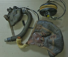 WWII USAAC B-6 Leather Helmet, Oxygen Mask and Headphones.
