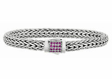 Phillip Gavriel 925 Silver Rectangle Cluster 16 Pink Sapphires Weave Bracelet
