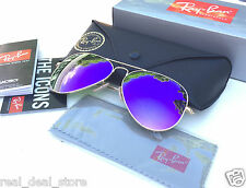 Authentic RAYBAN AVIATOR SUNGLASSES Violet Flash/Gold Frame RB 3025 112/68F 58mm