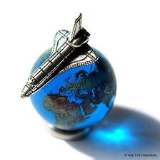 22mm Earth Globe Glass Marble & Miniature Space Shuttle Set -Cosmic Planet World