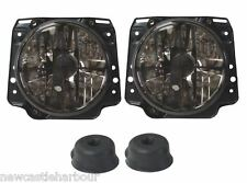 VW Golf MK2 Crystal Smoked Cross Hair Headlamps Headlights X 2 RHD +