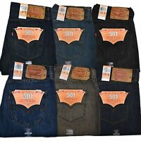 Levis 501 Jeans Mens Original Fit Button Fly All Sizes Light Medium Dark New