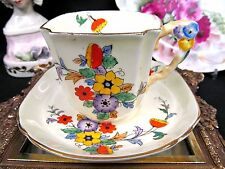 ROYAL STAFFORD TEA CUP AND SAUCER  FLORAL PATTERN PAINTED FLOWER HANDLE TEACUP
