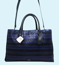 COACH 30181 BLEECKER Black/Blue Embossed Woven Leather Satchel Shoulder Bag $548
