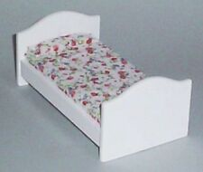 Dolls House Furniture:  Childs White Wooden Bed    : 12th scale