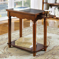 Prasi Chairside Side Snack Table Pull-Out Tea Tray Leatherette Top Antique Oak