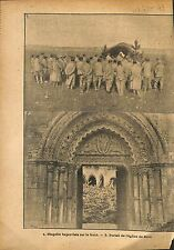 Ruines Portail de l'Eglise de Roye Bataille de la Somme  WWI 1917 ILLUSTRATION