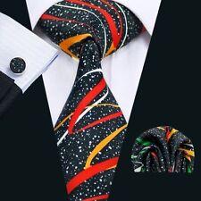Black 100% Pure Silk Neck Tie Cuff-links & Handkerchief Set Coloured  Swirls