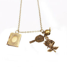 Vintage Beauty and the Beast Rose Mirror Teapot Pendant Necklace Jewelry Gift