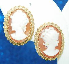 VINTAGE CAMEO NON-PIERCED SCREW BACK EARRINGS SOLID 14K GOLD, 9.0g