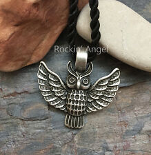 Antique Silver Plt Owl Pendant Necklace, Viking Norse Slavic Tribal Totem Gift