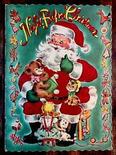 NIGHT BEFORE CHRISTMAS ~Beautiful 1950's Children's Flocked Large Softcover Book