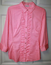 Womens Ladies NWT New York & Co Pink White Ruffle Front 3/4 Sleeve Blouse Sz M