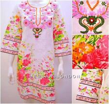 ETHNIC INDIAN BOHO HIPPIE EMBROIDERY FLORAL TUNIC DRESS MULTI ONESIZE 12 14 16