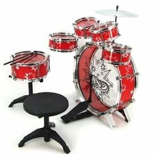Drum Set For Beginners Kids Toddlers Red 11 pc Musical Instruments Cymbals Bass