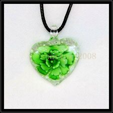 Fashion Noctilucent heart lampwork Murano art glass beaded pendant necklace BB21