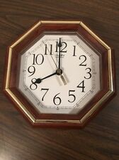 Vintage Elgin Wood Frame Gold Accent Battery Operated Wall Clock Tested & Work s