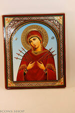 HOLY VIRGIN MARY SEVEN ARROWS Softener of Evil Hearts 15x18cm Семистрельная