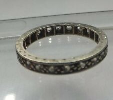Antique 1920s Eternity Ring White Gold Engraved Band Diamond Paste NO RESERVE