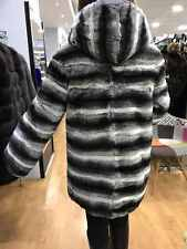 Rex Chinchilla Rabbit Fur Jacket with Hood Sizes S M L Hoodie