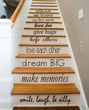 Family Wall Decal Quote Love Decals Stair Riser Vinyl Sticker Stairs Decor KY84