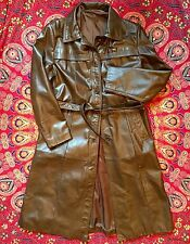 Beautiful Brown 100% Leather Long Trench Jacket Size M