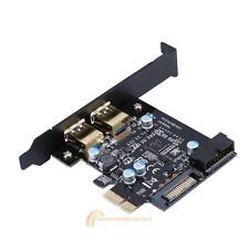 PCI-E to USB 3.0 2 Port PCI Express Expansion Card 19-Pin Power Connector New