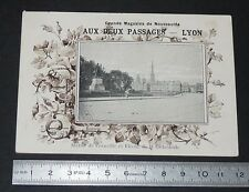 CHROMO PHOTO 1890-1905 AUX 2 PASSAGES LYON ROUEN STATUE DE CORNEILLE CATHEDRALE