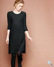 Eileen Fisher  BLACK Wool  Scoop Neck Pleated  RibbedTunic Dress XS $278