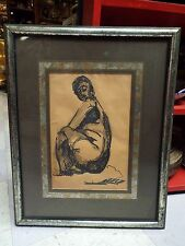 SIGNED GEORGE HABERGRITZ WOMAN ORIGINAL MODERN ABSTRACT INK PAINTING DRAWING NR