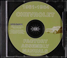 Chevy Assembly Manual CD Impala Bel Air Biscayne 1961 1962 1963 1964 Chevrolet
