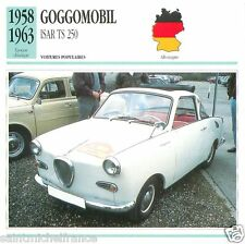 GOGGOMOBIL ISAR TS 250 1958 1963 CAR VOITURE GERMANY DEUTSCHLAND CARD FICHE