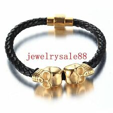 Charm Men Gold/Black Stainless Steel Skull Genuine Leather Bracelet Jewelry 8""