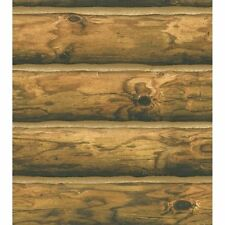 "3-D Light Brown 6"" Log Cabin Wide Sure Strip Wallpaper CH7980"