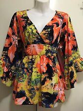 ***_***NEW~BETSEY JOHNSON~Romantic Multi-Color  Blouse Shirt Top Size M