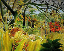 Oil painting beautiful abstract landscape yellow tiger in Tropical forest canvas