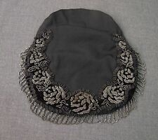 ANTIQUE SILVERED METAL BEADED FLOWERS & FRINGE VELVET & GROSGRAIN BAG FOR PURSE