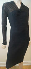 WOLFORD Black Sheer Neckline & Long Sleeves Chunky Rib Fitted Pencil Dress Sz:S