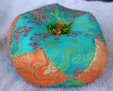 "Round Silk Tibetan Singing Bowl Cushion for Dharma 7"" Turquoise and Gold"