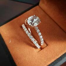 1.50 Ct Natural Round Dainty Band Pave Diamond Engagement Bridal Set - GIA Cert