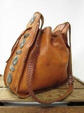 FOUR WINDS Vintage Moroccan Leather Southwest Concho Bucket Bag Drawstring Purse