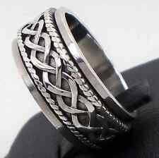 .925 Sterling Silver Celtic Braid Spiral Spinner Ring Size 10 Unisex Sol New N S