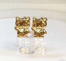 18k Solid Yellow Gold Cute Hello Kitty Stud Earrings, Diamond Cut 1.52 Grams