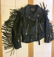 Women's Bullskins Vintage Heavy Leather Moto Jacket Harley Davidson Patch Sz. S