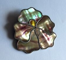 Antique Nouveau hallmarked sterling silver flower brooch w mother of pearl, 1909