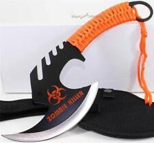 Zombie Killer Skull Splitter Throwing Axe Combat Fighter Survival Knife+Sheath O